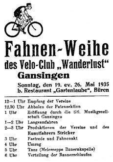 Der erste Fähnrich und die Fahnenwache werden gewählt. - Plakat anno 1935